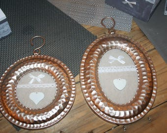 2 frames in rose gold plated copper metal heart linen and lace