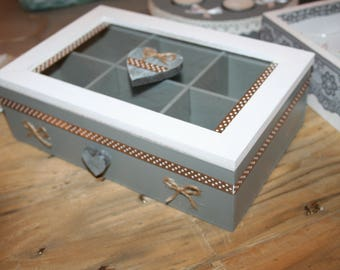 box for tea or jewelry white taupe and grey heart