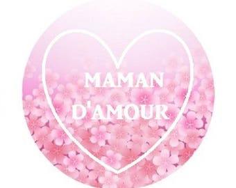 love MOM, 25mm rose cabochon