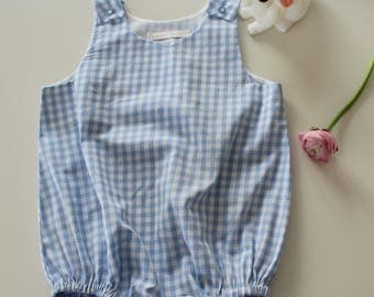 Blue gingham romper for baby