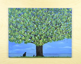 Large Chestnut Tree, Tree Skyline, Landscape Painting, Cats, Acrylic