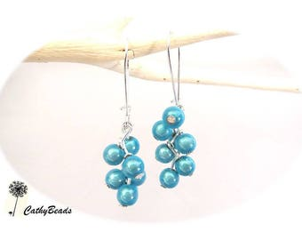 "Earrings ""p' small blue clusters"""
