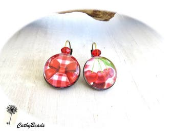 """Earrings cabochon """"p' cherry tites"""""""