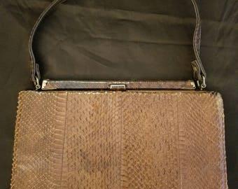 Vintage 1950's Brown Snakeskin Handbag with mirror