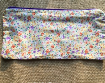 Purple and yellow flower small zippered pouch