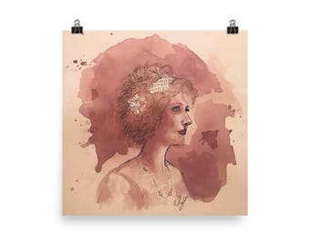 Victorian Style Woman - Poster - Wine on Watercolor Paper