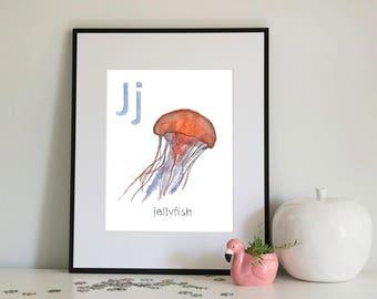 J is for Jellyfish, alphabet series - Print of Original Watercolour