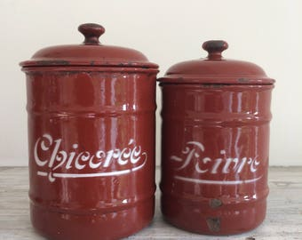 Six French enamel (red brown/ochsenblut) stock pots with lid