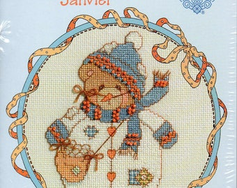 Cherished Teddies Roly Poly January Counted Cross Stitch Kit