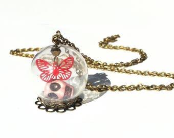 glass globe, skull Butterfly Necklace