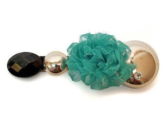 Thin green fabric flower barrette type clip hair clip blue cabochons silver and black
