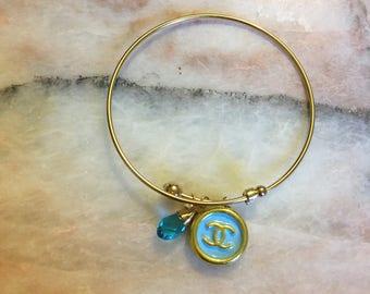 Turquoise Designer a Button Bangle Bracelet