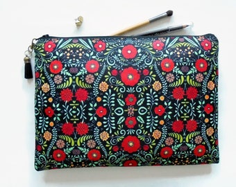 Gifts for her, Folky floral, folk pocket bag, travel bag, cosmetic bag, zip bag, make up bag, cosmetic pouch.