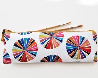 XLong brush bag,Art gifts,colour wheel,pencil case, student gift, teacher gift, art gift, pencil pouch, brush bag,colorful