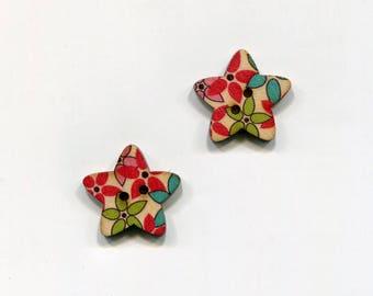 buttons 2 star 25mm * 9 flower pattern * wood