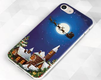 Santa Claus Riding a Deer iPhone Case, iPhone X case. iPhone 8 case. iPhone 8 Plus case. iPhone 7 Plus case. iPhone 7 case. iPhone 6S
