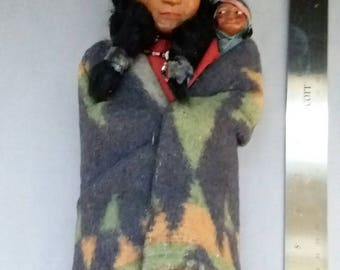 1920's Native American, Indian, Skookum Doll with Papoose