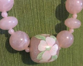 Vintage Pink Floral Beaded Necklace
