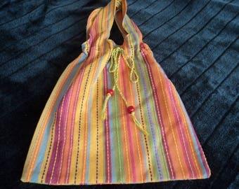 multicolored striped cotton women handbag