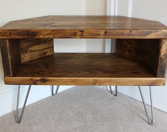 corner tv stand etsy. Black Bedroom Furniture Sets. Home Design Ideas