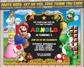 Super Mario Invitation, Super Mario Birthday, Super Mario Birthday Invitation, Super Mario Party, Super Mario Invite, Super Mario Printable