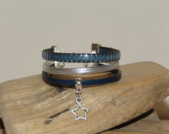 "Cuff Bracelet for girl ""Arabian nights of stars"" color leather Navy Blue and silver"
