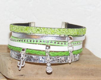 "Cuff Bracelet woman, silver, green and white, leather, glitter, suede, cactus and pineapple ""Small PRICKLES"" Merryweather charms"