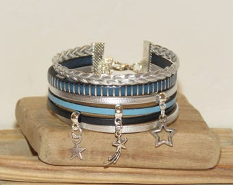 """Cuff Bracelet """"the night stars"""" leather, different colors Blue and silver"""
