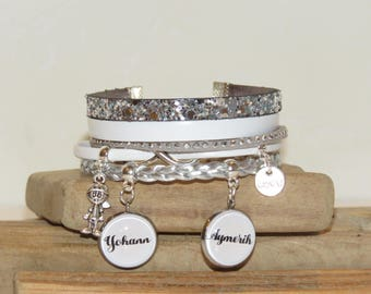 Cuff Bracelet personalized with 2 first names of your choice of leather and suede, grey, white and silver color