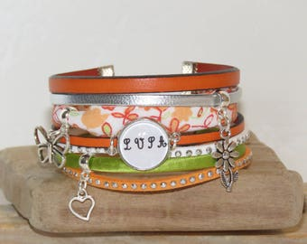 Cuff Bracelet personalized with initials - orange, green, white, silver color
