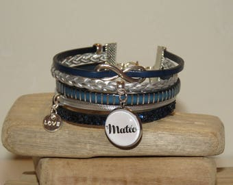 Cuff Bracelet personalized with the name of your choice, leather, Navy Blue, blue and silver