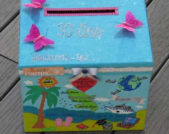 Birthday URN, themed around the world, travel, country, visits, plane, train, bus, blue color, customizable