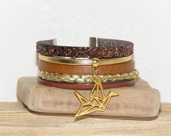 Cuff Bracelet, Brown, Brown, gold, leather, suede sequins, origami, women bracelet, gift idea bird charm pimprenellecreations