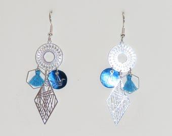 Diamond earrings, geometric Earrings, prints, blue earrings, hexagons, diamonds, origami earrings,
