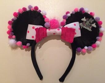 Minnie pink & pom pom ears