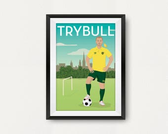 Retro Norwich Player Poster. Tom Trybull. Carrow Road. Travel Poster Style. Fan Art. Canaries