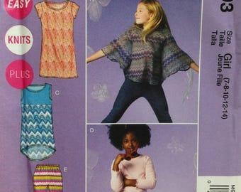 McCalls M6693 Sewing Pattern, Girls Dress, Girls Skirt, Girls Cape, Girls Leggings, Size 7-14