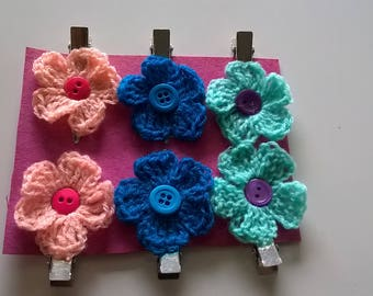 Flower hair clips crochet