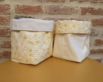 fabric basket reversible canvas beige and yellow pattern