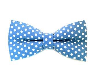 Blue Dots Bow Tie, Sky Blue Bow Tie, Blue Bow Tie, Dot Bow Tie, Spotted Bow Tie, Casual Bow Tie, Mens Bow Tie, Polka Dot Bow Tie