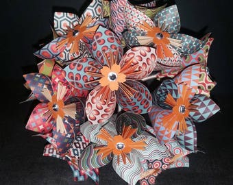Example 11 Vintage patterned origami flowers