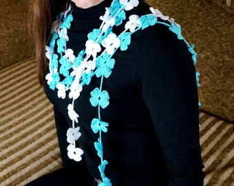 Flower Scarf Crochet Scarf Two branches Crochet flower Flower jewelry Flower necklace Crochet lariat Crochet leaves