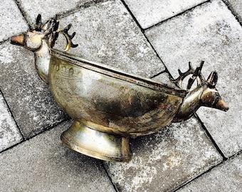 Vintage Brass Stag Bowl