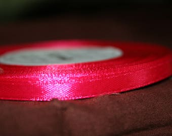 32 meters of 6 mm pink satin ribbon fuchsia sold has coil