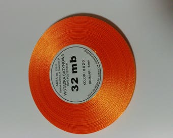 32 meters of Ribbon orange satin 6 mm by 32 meters