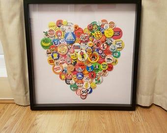 One of a kind Retro Heart Badge Art, Framed Art
