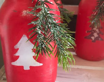 Christmas Red distrssed antique mason jar luminary