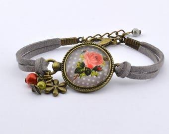 """""""Pink flower"""" bracelet charms grey color bronze"""