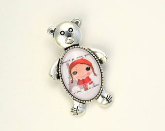 """Glass cabochon brooch """"later I would be..."""""""