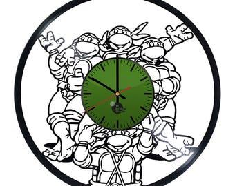 Teenage Mutant Ninja Turtles Donatello Leonardo Michelangelo Raphael Vinyl Record Wall Clock